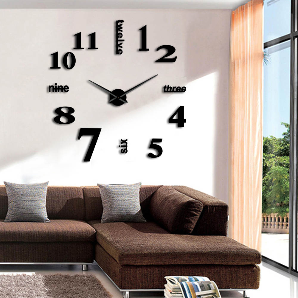 1piece Diy Large Wall Clock 3d Huge Mirror Clock Wall