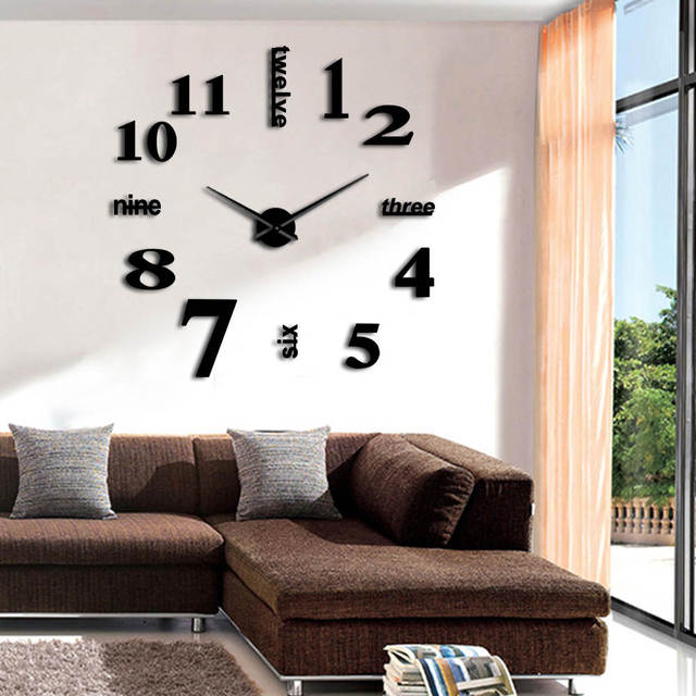 1piece Diy Large Wall Clock Huge Mirror Watch Surface Clocks Sticker Giant