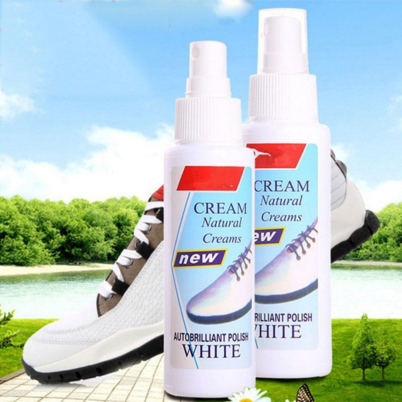 White Shoes Cleaner Whiten Refreshed Polish Cleaning Spray For Casual Leather Shoe Sneakers White Shoe Spray Bottle