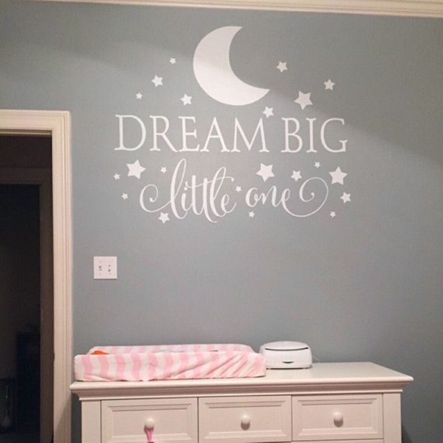 Dream Big Little One Quotes Wall Decal Nursery Wall Sticker Baby Bedroom Art Decor : kid wall decals bedrooms - www.pureclipart.com
