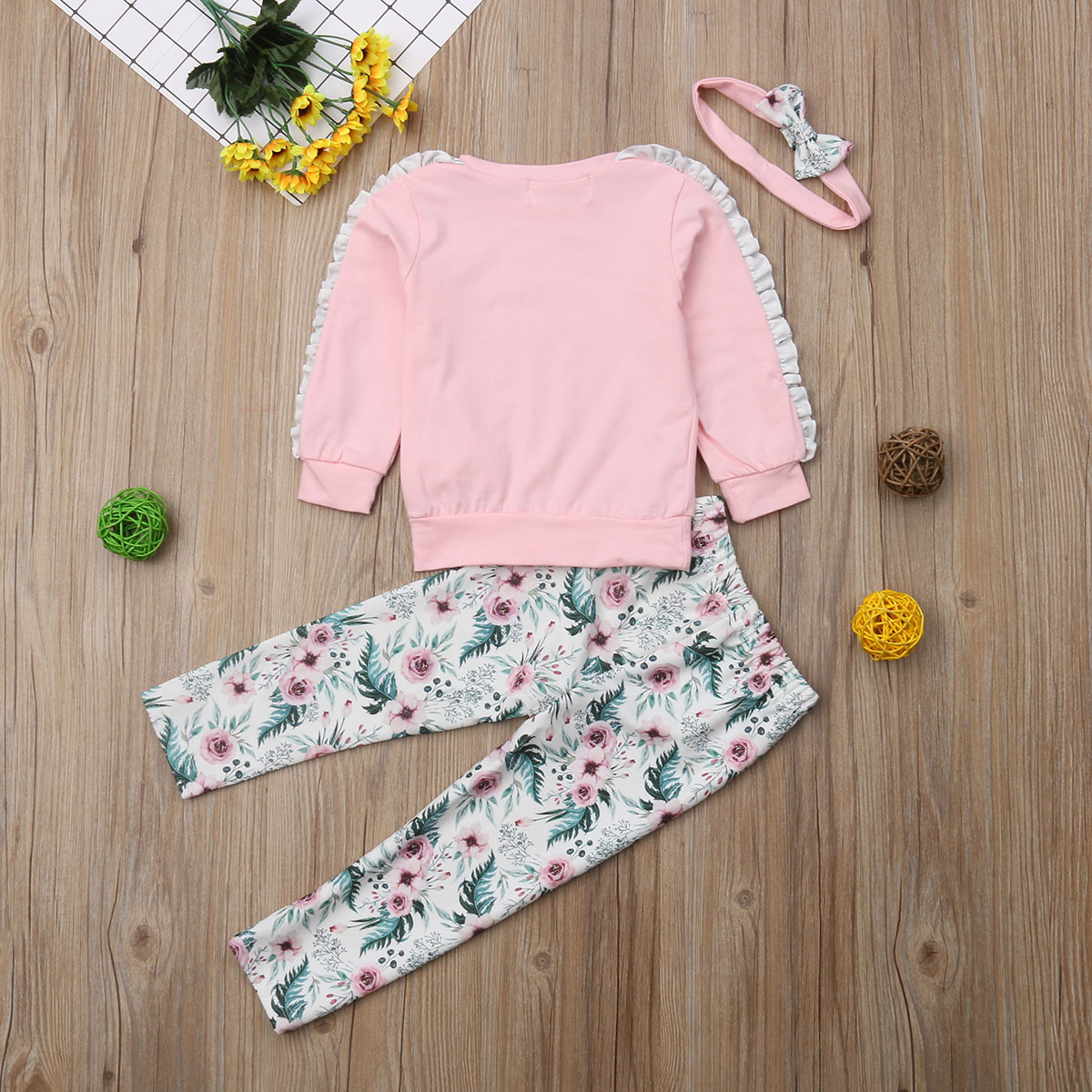 pudcoco  Infant Newborn Baby Girl Floral Long Sleeve T-shirt Top Pant Clothes Outfit baby girl floral autumn winter clothes set