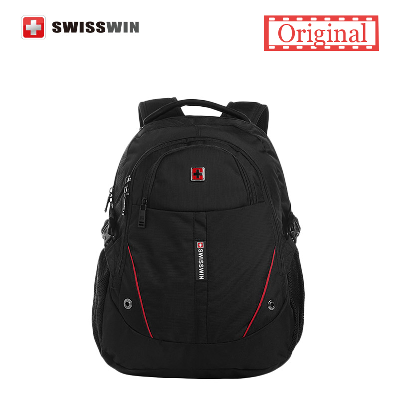 ФОТО Swisswin Men Laptop Backpack Computer Backpack for Business and Travel Black lightweight Urban Backpack Female Sac a dos