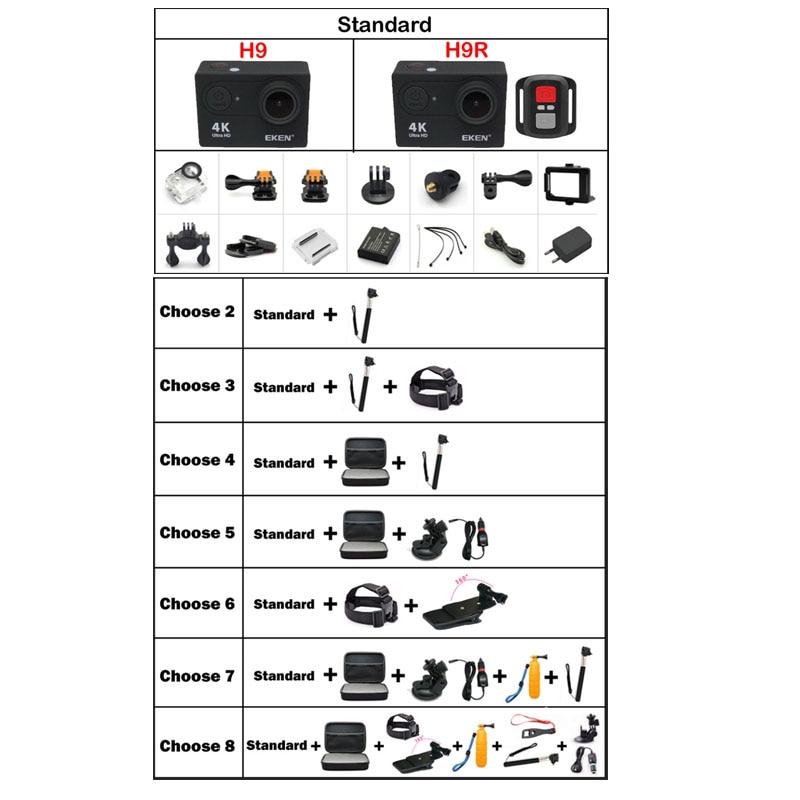 EKEN H9 D'action caméra H9R 4 K/25fps Sous-Marine Étanche Sport Cam Casque Vélo Mini Cam 170D WiFi 2.0