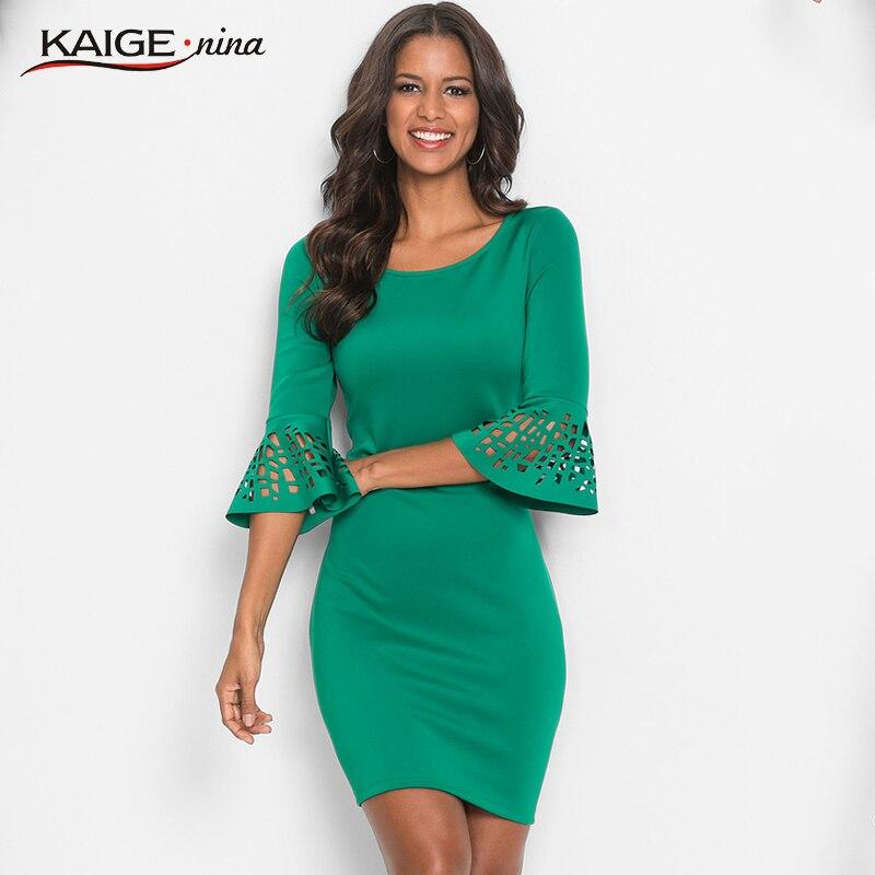 Kaige.Nina Women Dress 2017 Autumn Dresses O-neck Pure colour Women Clothing Chic Vintage Party Dresses 18020