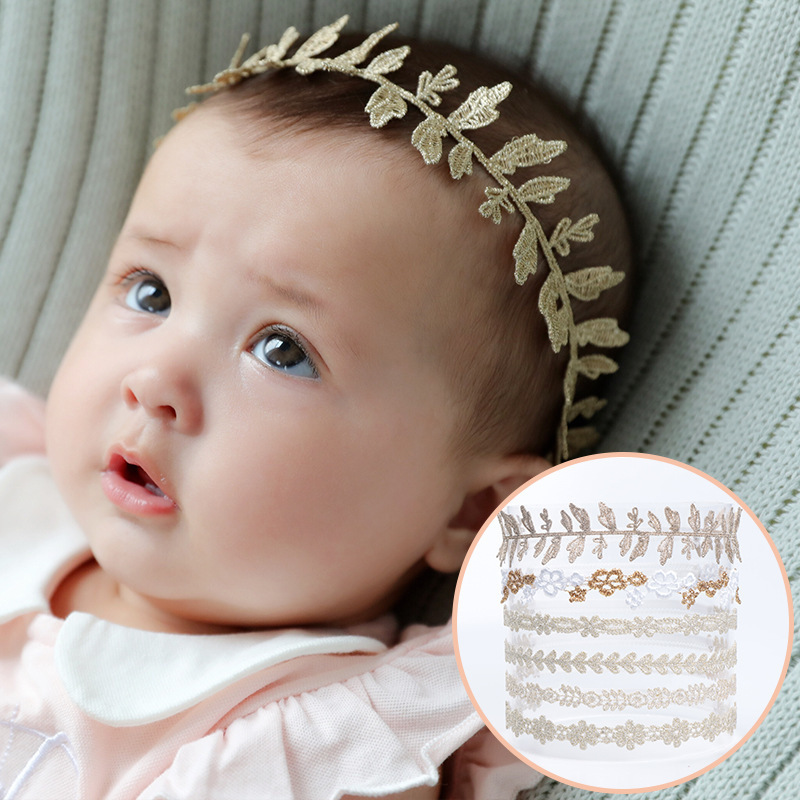 New Golden Lace Flowers Baby Headband Children Head Bandage Elastic Hair Bands Girls   Headwear   Kids Accessories Vintage Pattern