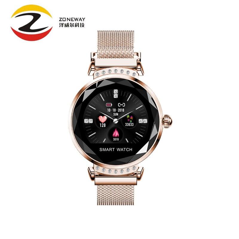 Date mode H2 Bracelet intelligent femmes 3D diamant verre fréquence cardiaque pression artérielle moniteur de sommeil meilleur cadeau Smartwatch pour IOS/M3