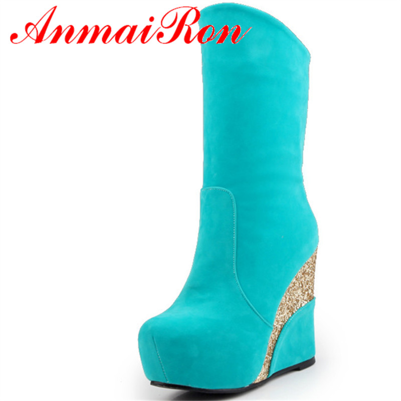 ANMAIRON New Style Winter Shoes Woman Round Toe High Heels Fashion Boots Platform Shoes Ankel Boots For Women Large Size 34-41 цены онлайн