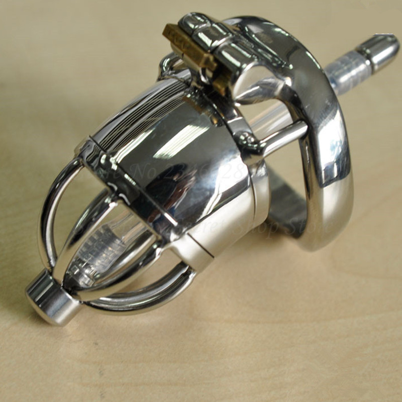 304 Stainless Steel Chastity Belt Lockable Penis Cage,Cock Ring,Male Chastity Device With Urethral Catheter,Adult Game Sex Toys