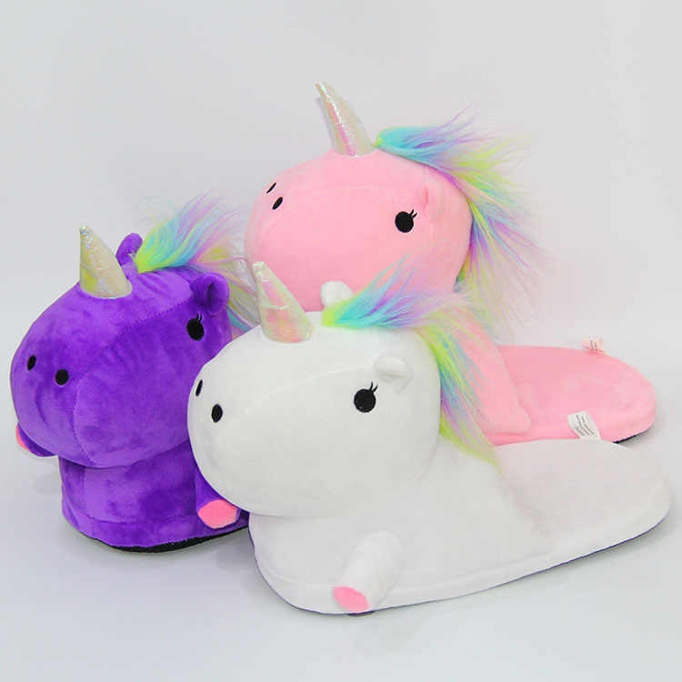 033f5230da1 ... Beautiful Unicorn Plush Indoor Slippers Adults Kids Children Autumn  Winter Home Slippers White Pink Unicorn Slippers