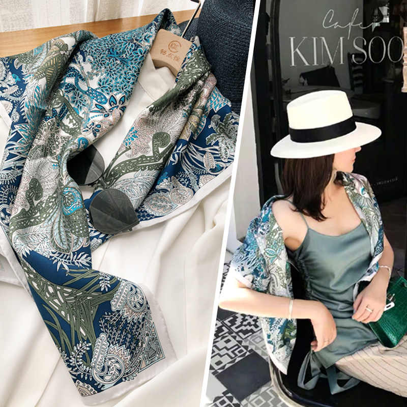 """Stunning Blu Stampe 100% Sciarpa di Seta Hijab Testa Sciarpe per Le Donne di Modo Dello Scialle delle Sciarpe Foulard 35"""""""