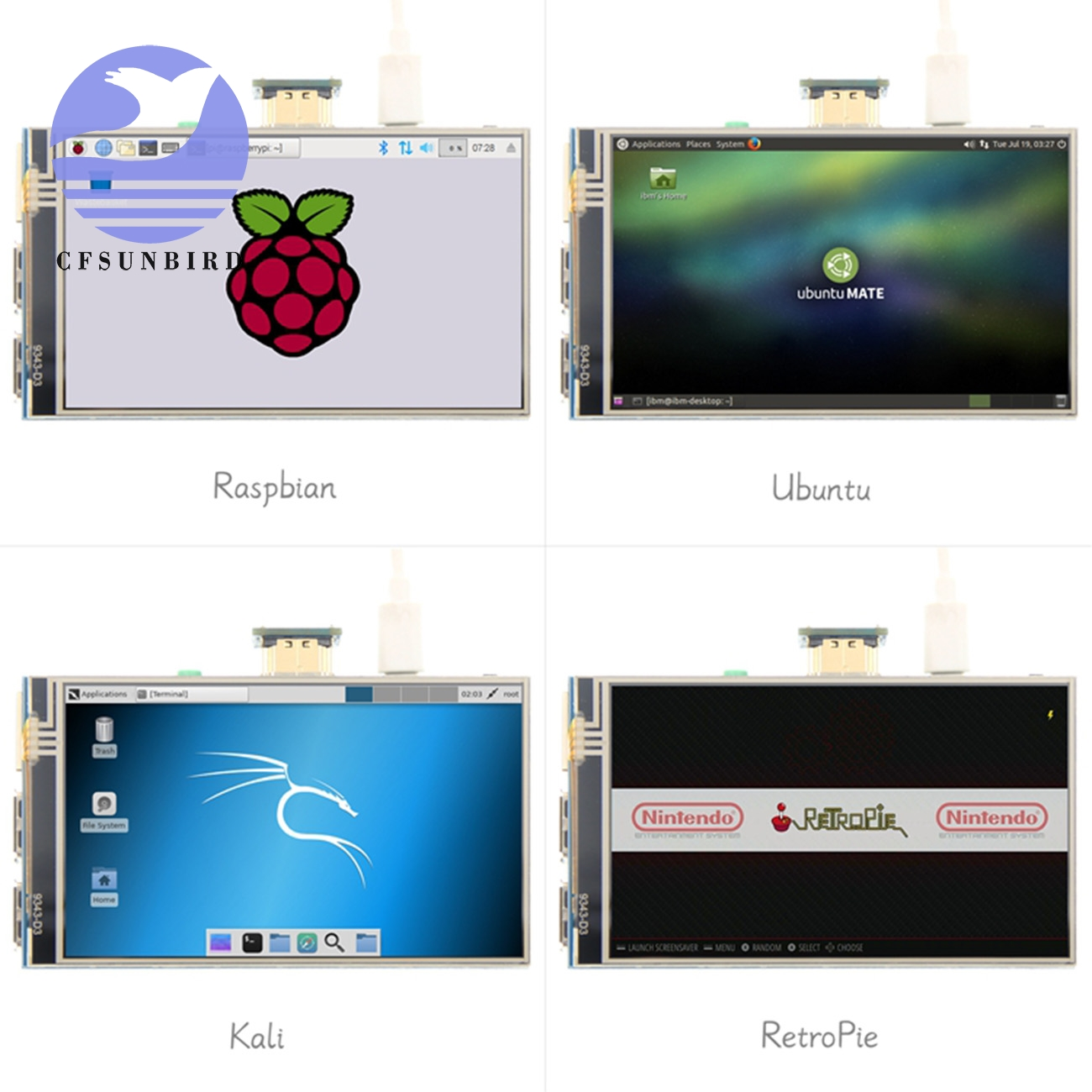 "Image 5 - 4.0"" Inch HDMI IPS LCD Monitor Screen Module Display with GPIO Resistive Touch Panel Audio Output for Raspberry Pi 4LCD Modules   -"