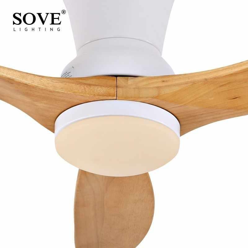 SOVE, ventilador LED moderno nórdico de madera para techo, ventiladores de techo de madera, lámpara DC, ventiladores de techo con luces sin luz, ventilador para el hogar de 220v