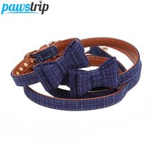 pawstrip 4 Colors Cute Bow Dog Collar Leather Leash Plaid Puppy Bandana Adjustable Cat Pet Lead For Small Dogs