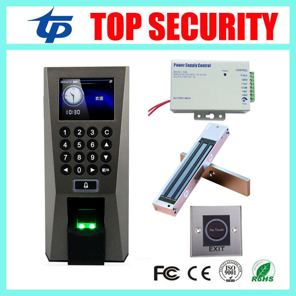 ZK F18 biometric fingerprint access control system with infrared exit button, 280KG EM lock and 110V-240V power supply