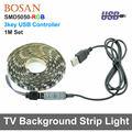 5 V USB LED RGB Tira 5050 TV Fundo Iluminação 60 LEDs/m Preto PCB Tira Conduzida com 3Key Controlador À Prova D' Água 1 m Conjunto de Luz de Humor