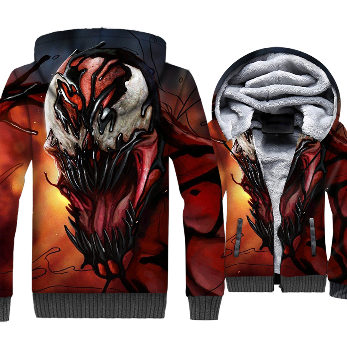 Venom clothes men harajuku hooded hoodies 2018 3D printed plus size sweatshirts Spiderman hipster Superhero jackets coats M-5XL
