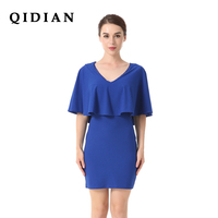 QI DIAN Party Dress 2018 Spring Original New Women S V Neck Bat Sleeve One Piece