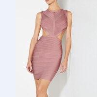 2017 New Winter Dress Women Pink Sleeveless O Neck Luxury Above Knee Mini Celebrity Party Backless