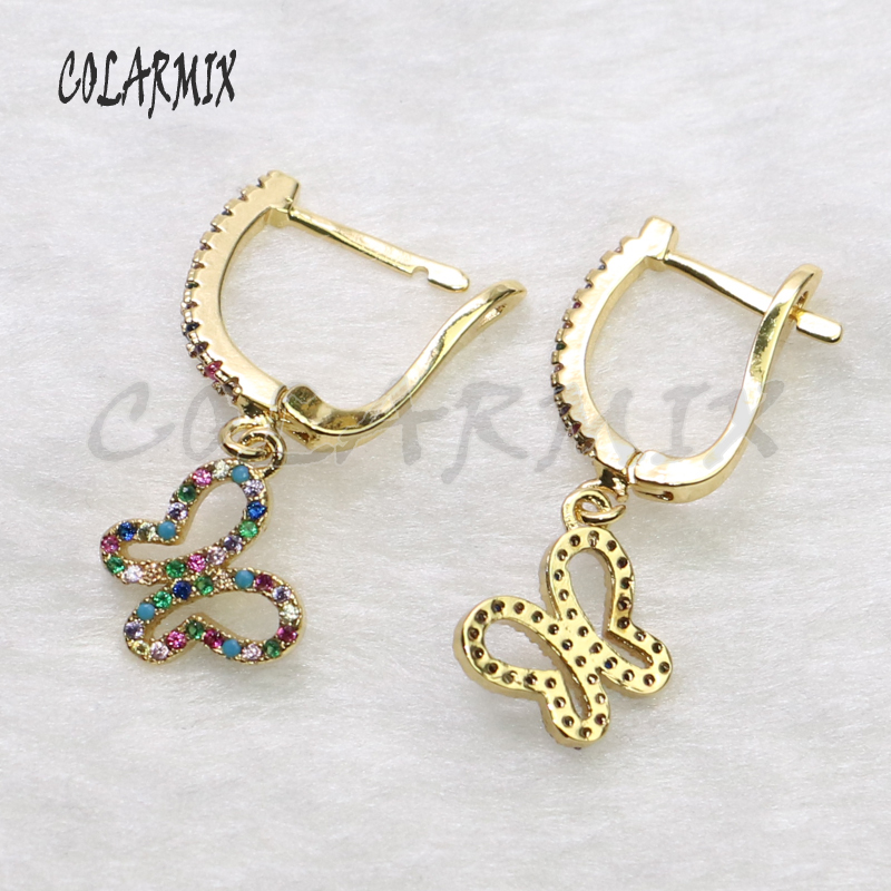 5 Pairs butterfly earrings bugs dangle earrings tiny charm crystal earrings zircon wings accessories for women 5483