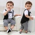 Ropa de bebé paty boda caballero del bebé de los mamelucos ropa de bebé recién nacido