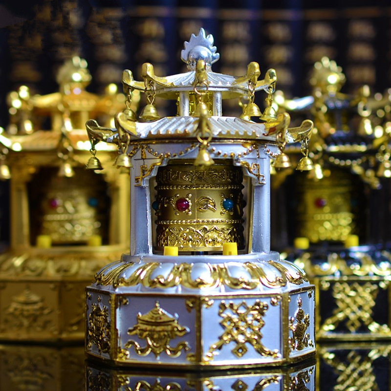 High Grade Attic Shape Opening The Light Solar Energy Eight Treasures Prayer Wheel Exquisite Bell Revolving Prayer Wheel