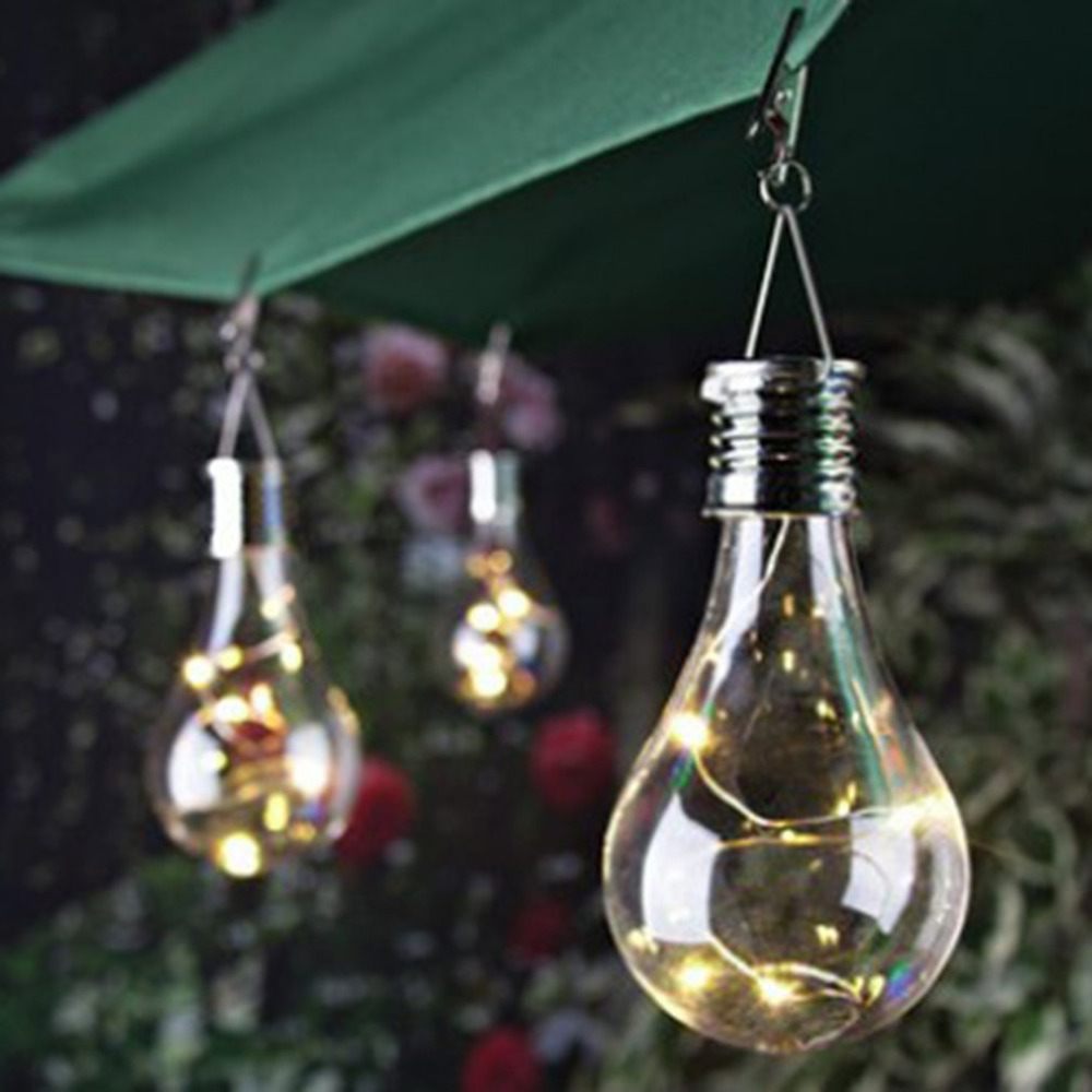 1.2V Solar Powered LED Hanging Lamp with 0.24W Waterproof Rotatable LED Bulb Lawn Lamp for Outdoor Garden Camping