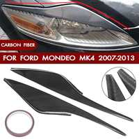 Pair Car Carbon Fiber Headlight Eyebrow Cover Trim Head Lamp Eyelid Sticker For Ford/Mondeo MK4 2007 2013