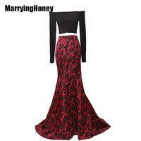 Printed Satin Two Piece Mermaid Prom Dress with Long Sleeve Evening Dresses Red Black Robe De Soiree 2017 Wedding Party Gowns
