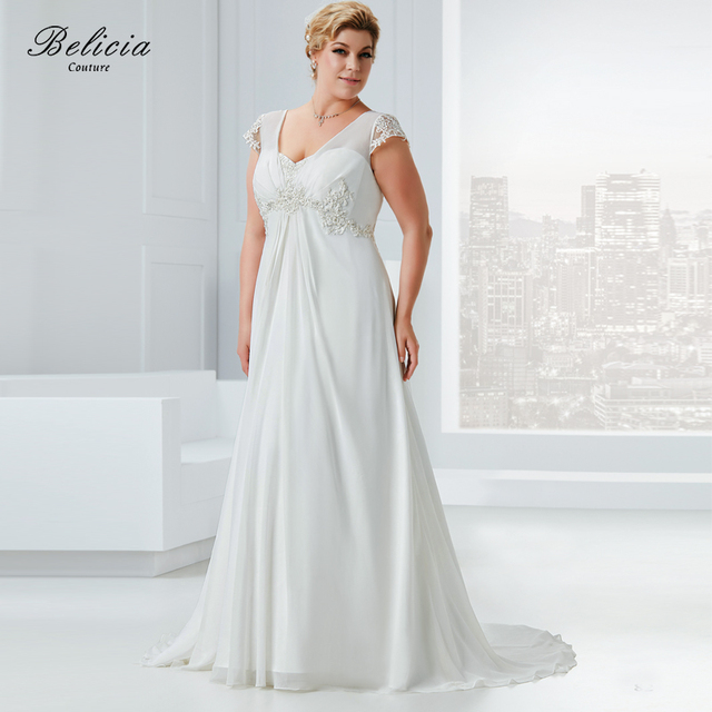 Belicia Couture Women Wedding Dresses V Neck Beading Appliques ...