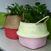 WHISM Foldable Seagrass Rattan Belly Storage Basket Hit Color Home Room Plants Decoration Plant Toys Laundry Holder Container