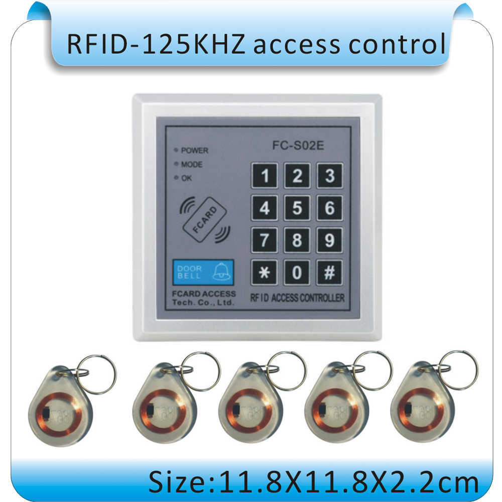 FC-S02E DC 12V Security password & 125KHZ EM RFID Proximity Entry Door Lock Access Control System +10 crystal Keyfob