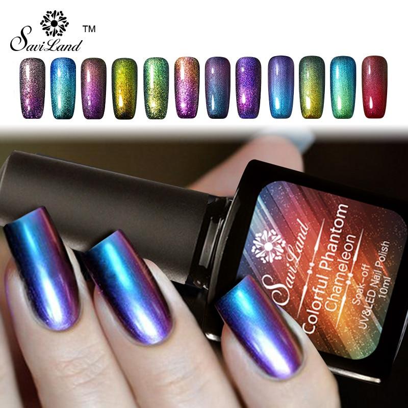 Saviland 10ml Chameleon Glitter Colorful Phantom Uv Led Gel Varnishes Long Lasting Soak Off Mood Change Nail Polish In From Beauty Health
