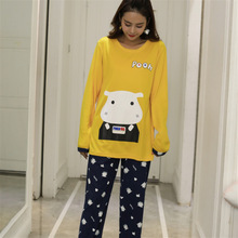 Autumn and winter pajamas suit women casual long-sleeved Korean cartoon cow cute 2 piece suit home furnishing large size pajama стоимость