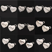 "Hot Sale 18x15mm Antique silver Letter ""brother"" ""dad"" ""son"" ""mom"" Family Heart Shape Pendant Charms for Jewelry Making(China)"