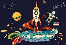 Laeacco Baby Party Comics Spaceship Rocket Astronaut Photography Backgrounds Customized Photographic Backdrops For Photo Studio