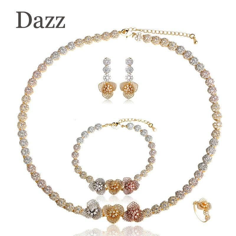 все цены на Dazz Luxury Big Gold Color Women Copper Jewelry Sets Indian Dubai Dazzling Cubic Zircon Bridal Wedding Flower Jewelry Set 4Pcs онлайн