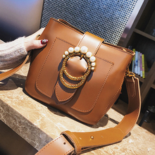 ETAILL Smooth Box Pu Leather Bucket Bag Retro Pearl Buckle Handbag Fashion Wide Strap Shoulder Bag
