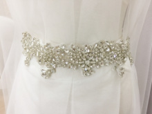 Deluxe Rhinestone Beaded Bridal Sash Wedding Belt Applique with Iron On Fabric Crystal Applique,Wedding Appliq
