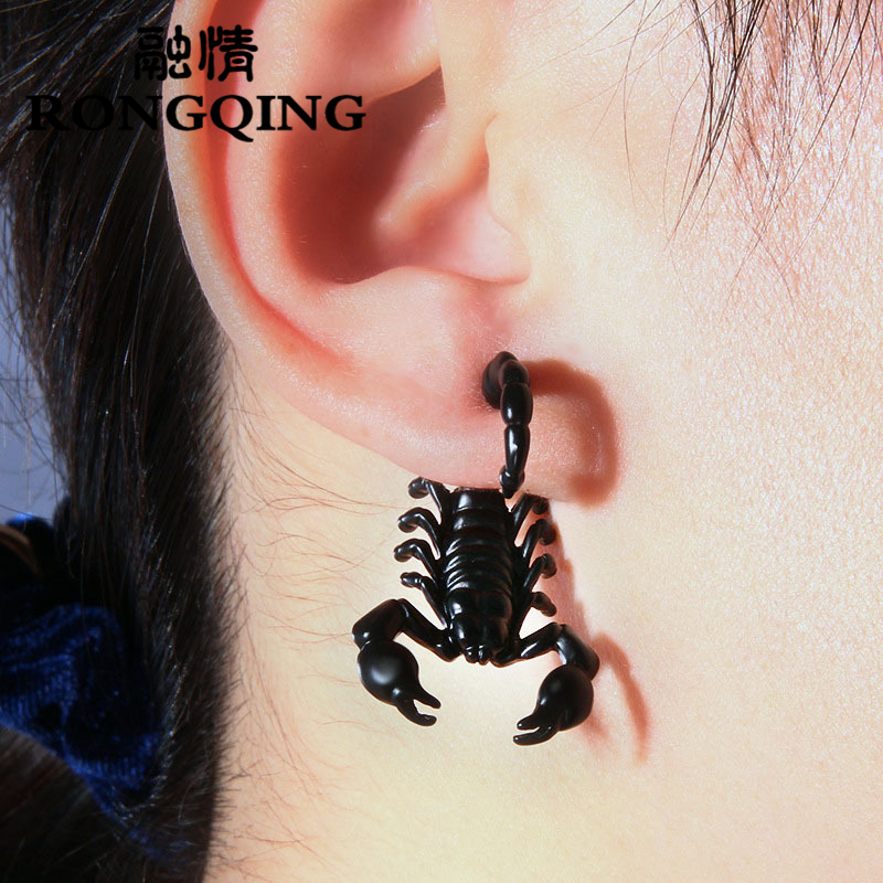 RONGQING 1pcs 3D Scorpion Pendientes Boucle D Oreille Vintage Strange Things Cool Mens Pendientes Oorbellen
