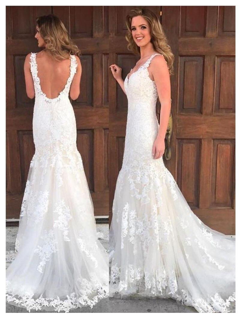 2019 Lace Mermaid Wedding Dresses Ivory Vestidos De Novia Sirena Sleeveless Informal Wedding Gowns Modest Bridal Dresses Wedding Dresses Aliexpress,Casual Simple Beach Wedding Dresses