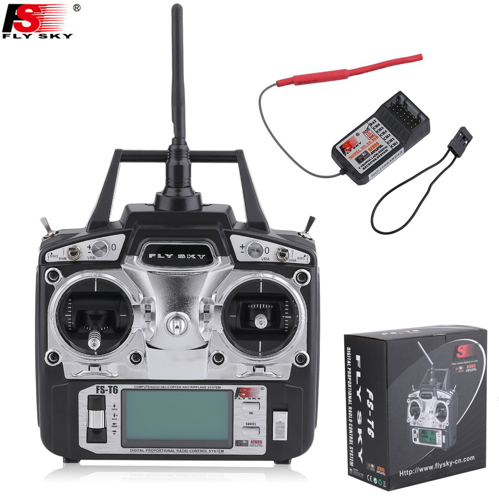 1 pcs Original Flysky FS-T6 T6 FS 6ch 2.4g w/Tela LCD transmissor + Receptor R6B FS RC Quadcopter Helicóptero Com Tela LED