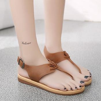 2018 Women Flat-Bottomed Roman Sandals platform shoes Women PU Leather sandals peep-toe flat Shoes sandalias mujer римские сандали