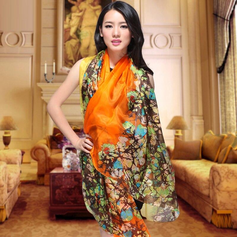 Jarní podzim plus velikost čistě hedvábný šátek šál vytištěný letní morušový hedvábí dlouhý šátek zakrýt samice oranžový hedvábný šátek Cape