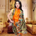 Spring Autumn Plus Size Pure Silk Scarf Shawl Printed Summer Mulberry Silk Long Scarve Cover Up Female Orange Silk Scarf Cape