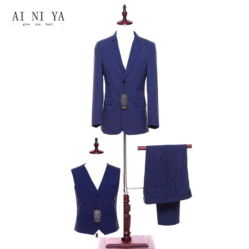 Jacket+Pants+Vest Pant Suits Women Business Suits Office Formal Work 3 Piece Sets Royal Blue Striped Ladies Elegant Pant Suits