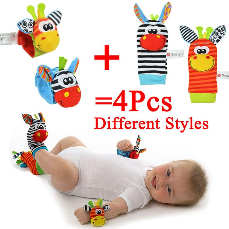 High-quality-4Pcs-Baby-Rattle-Toy-Socks-Animal-Cute-Cartoon-Baby-Socks