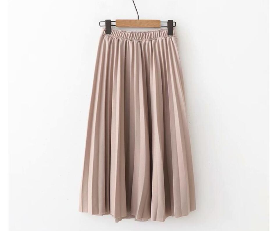 Image 5 - 2019 Spring Summer Women High Waist Skirt Solid Color Pleated Skirt Women Causal Midi Skirts-in Skirts from Women's Clothing