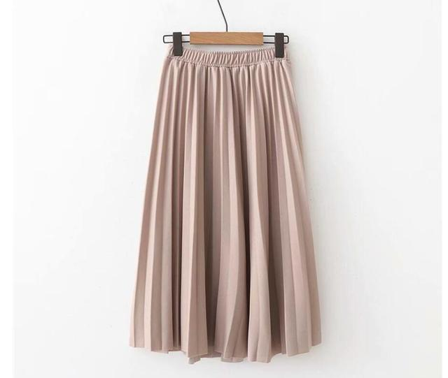 2020 Spring High Waist Pleated Skirt Women Black Causal Midi Skirts Plus Size Elastic Waist 10