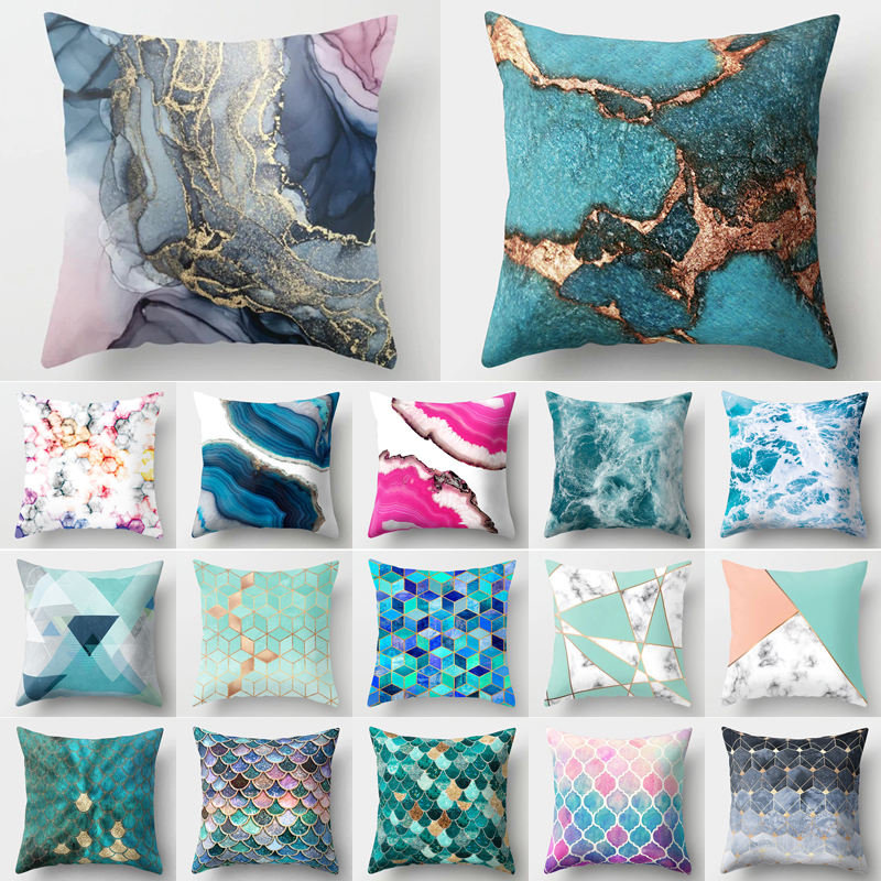 Ocean Marble Geometric Sofa Decorative Cushion Cover Pillow Pillowcase Polyester 45*45 Throw Pillow Home Decor Pillowcover 40507