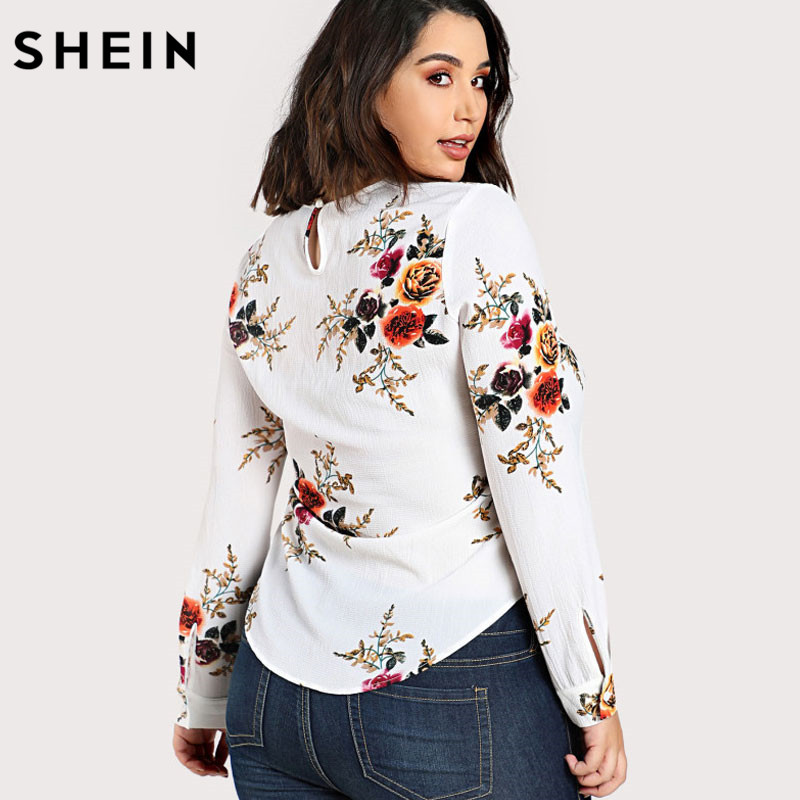 db66669a6ead94 SHEIN Floral Plus Size Blouse Women Multicolor O neck Long Sleeve Casual  Flower Print Curved Hem Tunic Tops and Blouses-in Blouses & Shirts from  Women's ...